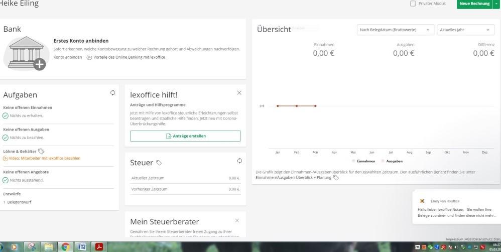 lexoffice Produkttest Startseite der Buchhaltungssoftware