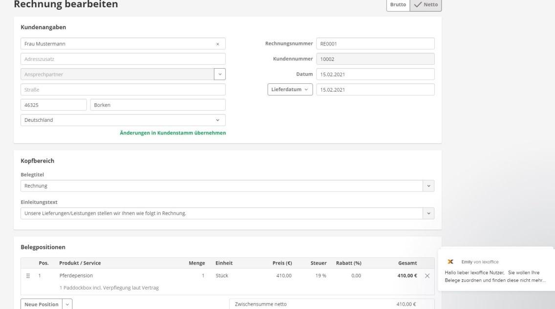 lexoffice Produkttest Screenshot von einer Rechnungserstellung