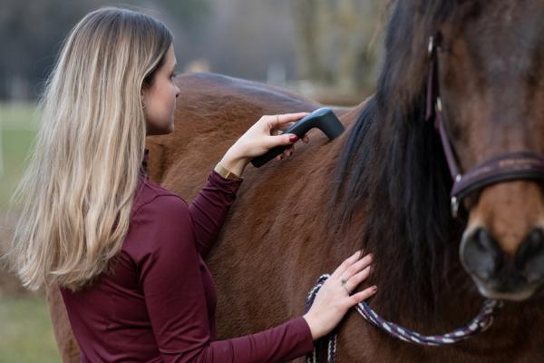 Ensatz des NOVAFON power am Rücken des Pferdes