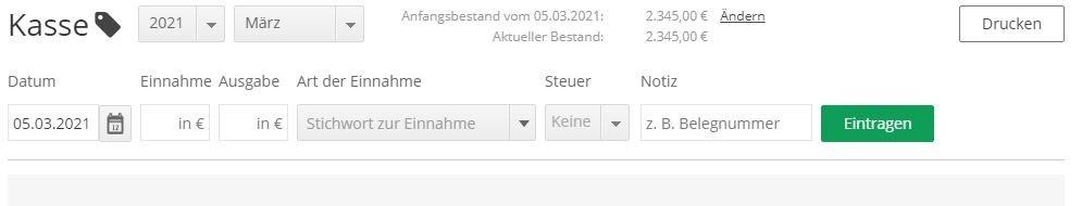 lexoffice Produkttes Screenshot von einer Kassenbuchung