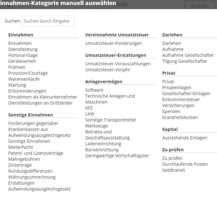lexoffice Produkttest mit einem Screenshot über die verschiedenen Einnahmequellen für die Kassenbuchung