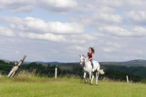 Frau reitet auf Pferd