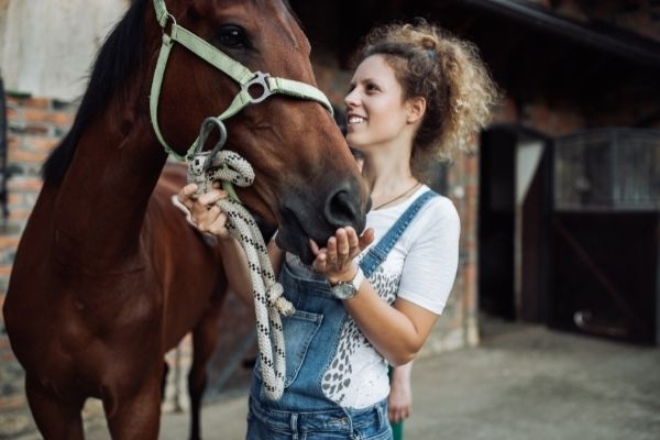 Frau hält Pferd am Kopf und lächelt zufrieden