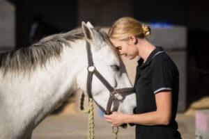 Pferd einschläfern: Frau mit Schimmel